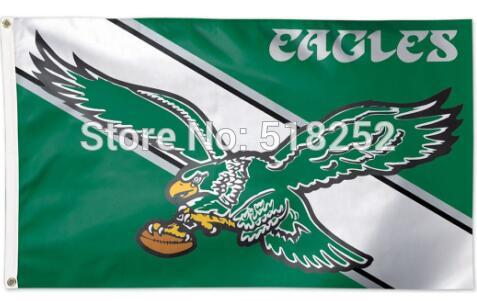 Philadelphia Eagles Throwback Vintage Flag 3x5 FT 150X90CM NFL Banner 100D Polyester Custom flag grommets 6038, free shipping