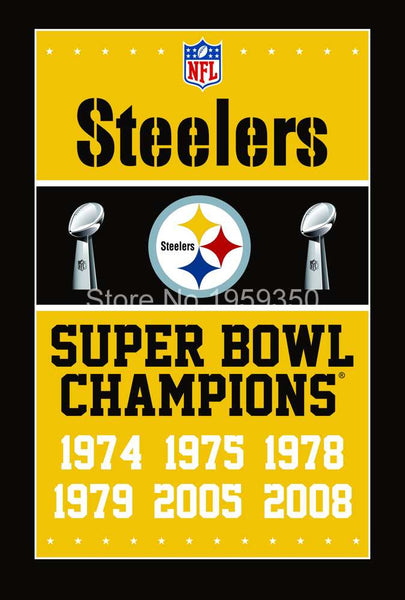 Pittsburgh Steelers Super Bowl Champions Flag 3ft x 5ft Polyester  flag 100D polyester