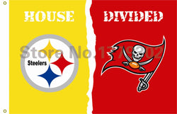Pittsburgh Steelers Tampa Bay Buccaneers House Divided Flag  3ft x 5ft Polyester NFL Banner Flying Custom flag