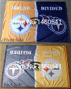 Pittsburgh Steelers Tennessee Titans House Divided Flag 3ft x 5ft Polyester NCAA Banner Flying Size No.4 144* 96cm flag