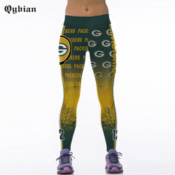 Qybian Leggings High Elasticity Slimming Green Bay Packers Print Pant Fitness Women For Breathable Women Pant Leggings Fitness