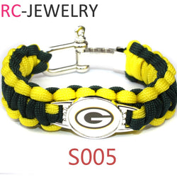 S005 Paracord Survival Bracelet   Green Bay Packers Friendship Outdoor Camping Sports Parachute Rope For Women Men