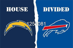 San Diego Chargers Buffalo Bills House Divided Flag 3ft x 5ft Polyester NFL Banner Size No.4 144*96cm QingQing Flag