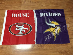 San Francisco 49ers With Minnesota Vikings USA House Divided Premium Team Football Flag 3X5FT