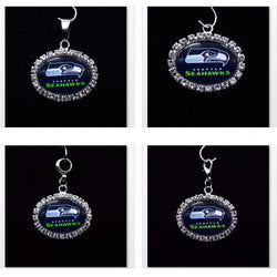 Silver Pendant Charms Rhinestone  Seattle Seahawks Charms for Bracelet Necklace for Women Men Football Fans Paty Fashion