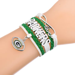 Skyrim  Football Metal Green Bay Packers Leather Bracelet Zinc Alloy Charm Sporty Style Bracelet for Women & Men