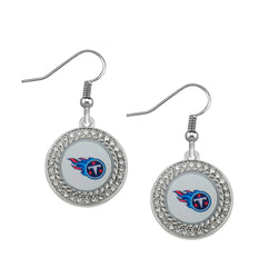Skyrim Round clear crystals decals enamel Tennessee Titans football earrings gift