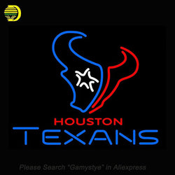 Sports Club HTs Neon Sign Houston Texans Neon Signs Real Glass Tubes Neon Bulbs Signboard Handcraft Beer Iconic Sign 24x20""