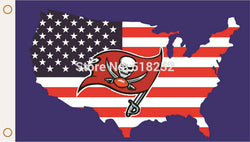 Tampa Bay Buccaneers with American map Flag  3x5 FT 150X90CM NFL Banner 100D Polyester Custom flag grommets 6038, free shipping