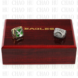Team Logo wooden Case 2PCS Set 1980 2004 PHILADELPHIA EAGLES NFC Football world Championship Ring 10-13 size solid back