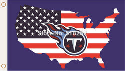 Tennessee Titans with American map Flag  3x5 FT 150X90CM NFL Banner 100D Polyester Custom flag grommets 6038, free shipping