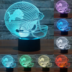 USB table desk Lamp NFL Team Logo 3D Light LED Detroit Lions Football Cap Helmet 7 color changing touch switch light IY803662