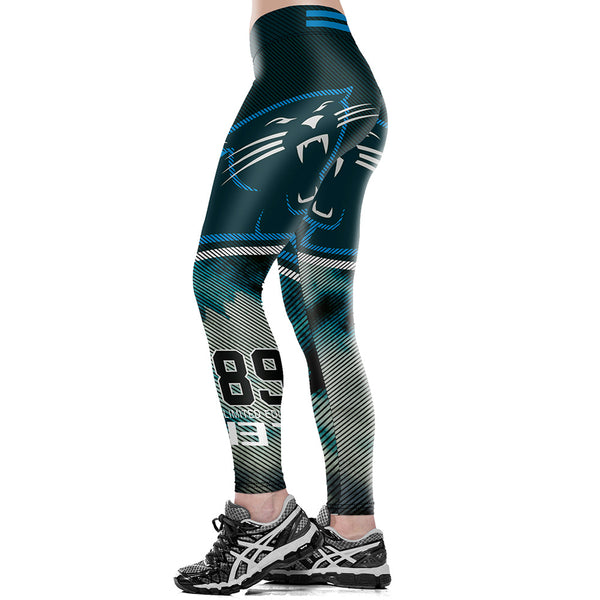 Unisex Carolina Panthers Logo Fitness Leggings Elastic Fiber Hiphop Party Workout Pants Exercise Trousers Dropshipping