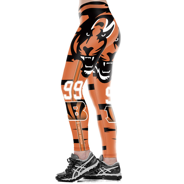 Unisex Cincinnati Bengals Logo Fitness Leggings Elastic Fiber Hiphop Party Cheerleader Rooter Workout Pants Trousers Dropship