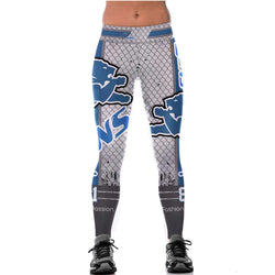 Unisex Detroit Lions Logo Fitness Leggings Fiber Elastic Hiphop Cheerleader Rooter Workout Pants Exercise Partywear Dropshipping