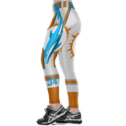 Unisex NFL Team Miami Dolphins Logo Thematic Fitness Leggings Fiber Elastic Hiphop Party Pants Workout Trousers Ropa Mujer