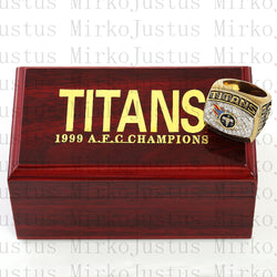 WITH WOOD BOX American Football League 1999 Tennessee Titans 3D Design High Quality Replica CHAMPIONSHIP RING STR0-433