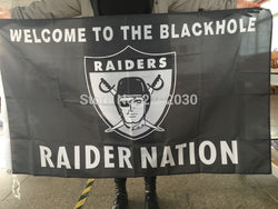 Welcome To The Blackhole Raider Nation Flag Oakland Raiders Banner Super Bowl World Series 3ft X 5ft Oakland Raiders Flag