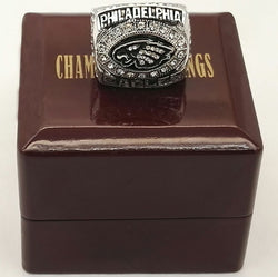 Wholesale  2004 Philadelphia Eagles Super Bowl Zinc Alloy silver plated World Championship Ring With Wooden Boxes