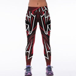Women NFL Atlanta Falcons Fitness Leggings Fiber Elastic Hiphop Party Cheerleader Rooter Workout Pants Team Logo Trousers