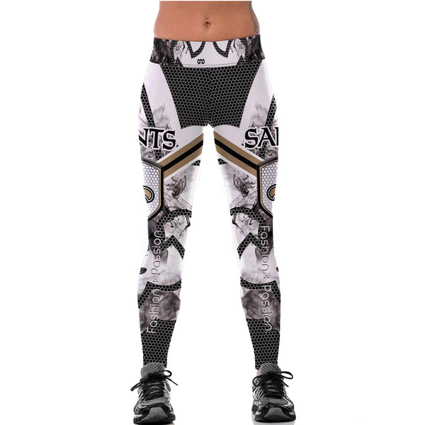 Women New Orleans Saints Fitness Leggings Fiber Elastic Hiphop Party Cheerleader Rooter Logo Pants Workout Trousers Dropshipping