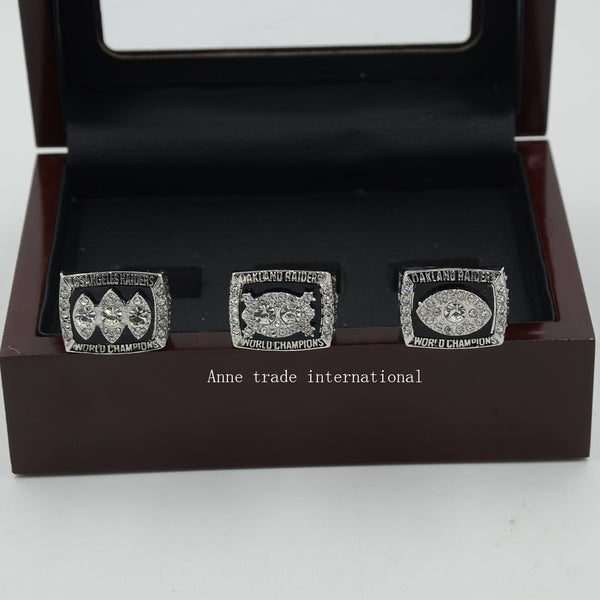 Wooden Boxes With 1976/1980/1983 Replica Super Bowl Oakland Raiders Championship Ring Set Size 8-14