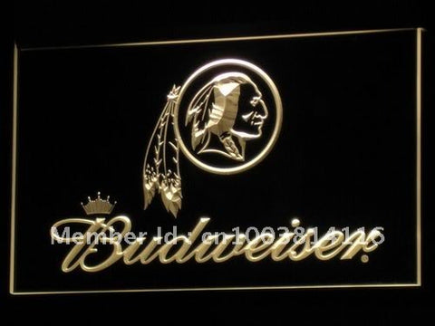 b290 Washington Redskins Budweiser NR LED Neon Sign with On/Off Switch 7 Colors 4 Sizes to choose