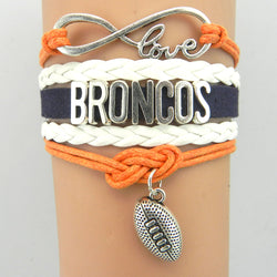 infinity love Denver Broncos bracelet football charm bracelets & bangles sport team gift for women men jewelry drop shipping