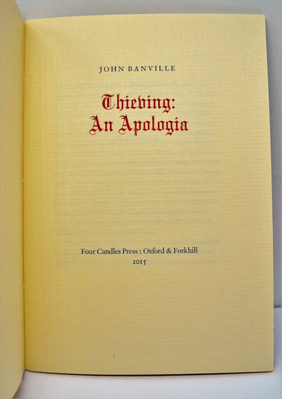 Banville, John - Thieving : An Apologia | front cover