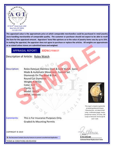 Certificate of Authenticity of a Rolex Datejust Watch