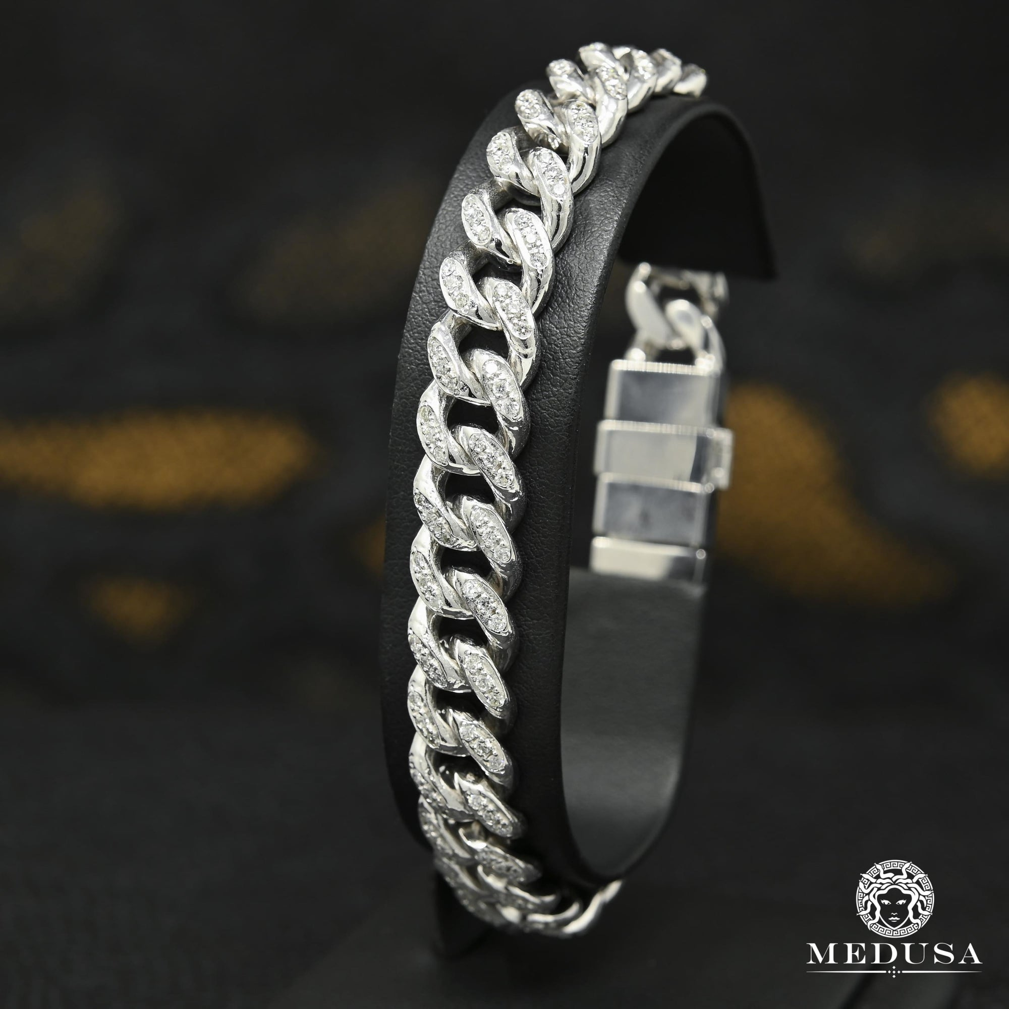 10mm Bracelet Cuban Diamant Or Blanc