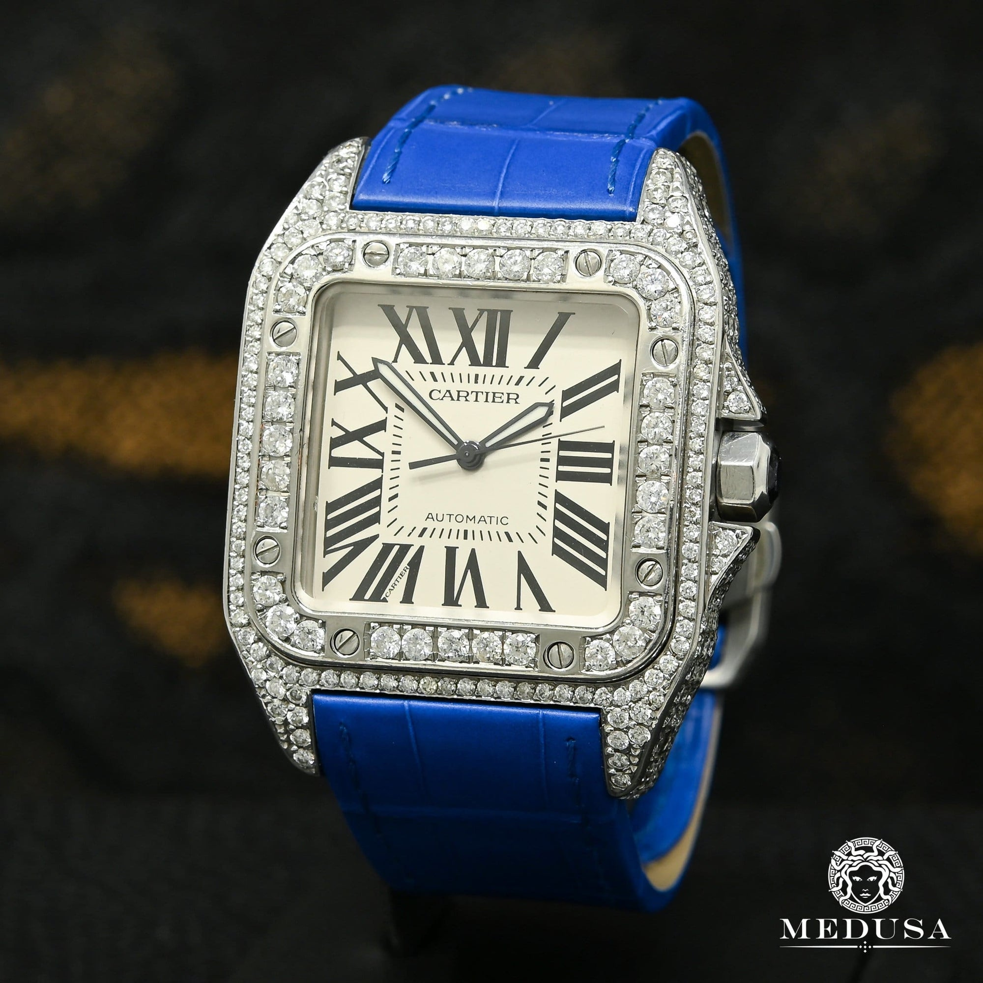 40mm Cartier Santos 100 Iced - Bleu Crocodile