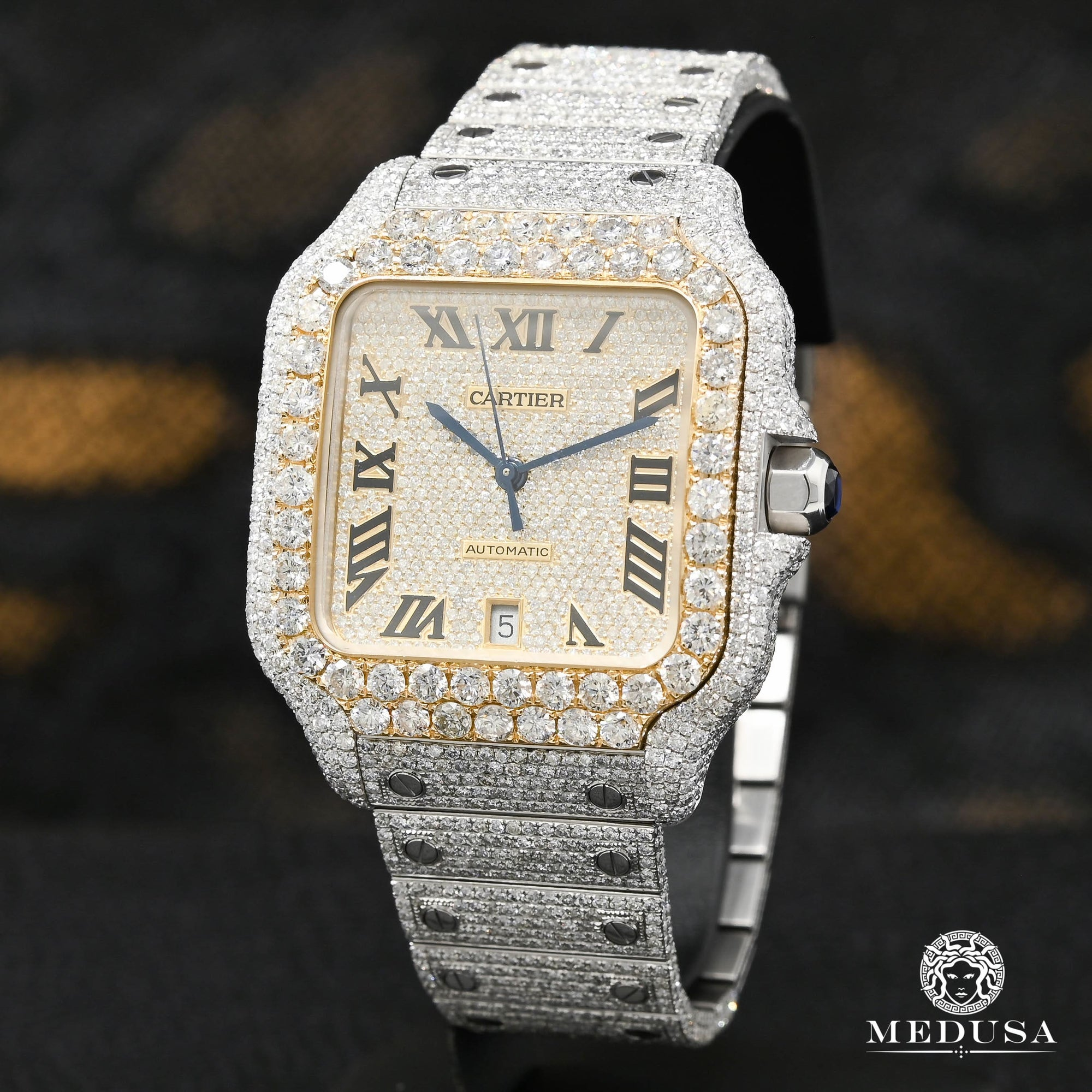 Montre Cartier | Montre Homme 40mm Cartier Santos 100 XL - Full Dial Iced Or 2 Tons