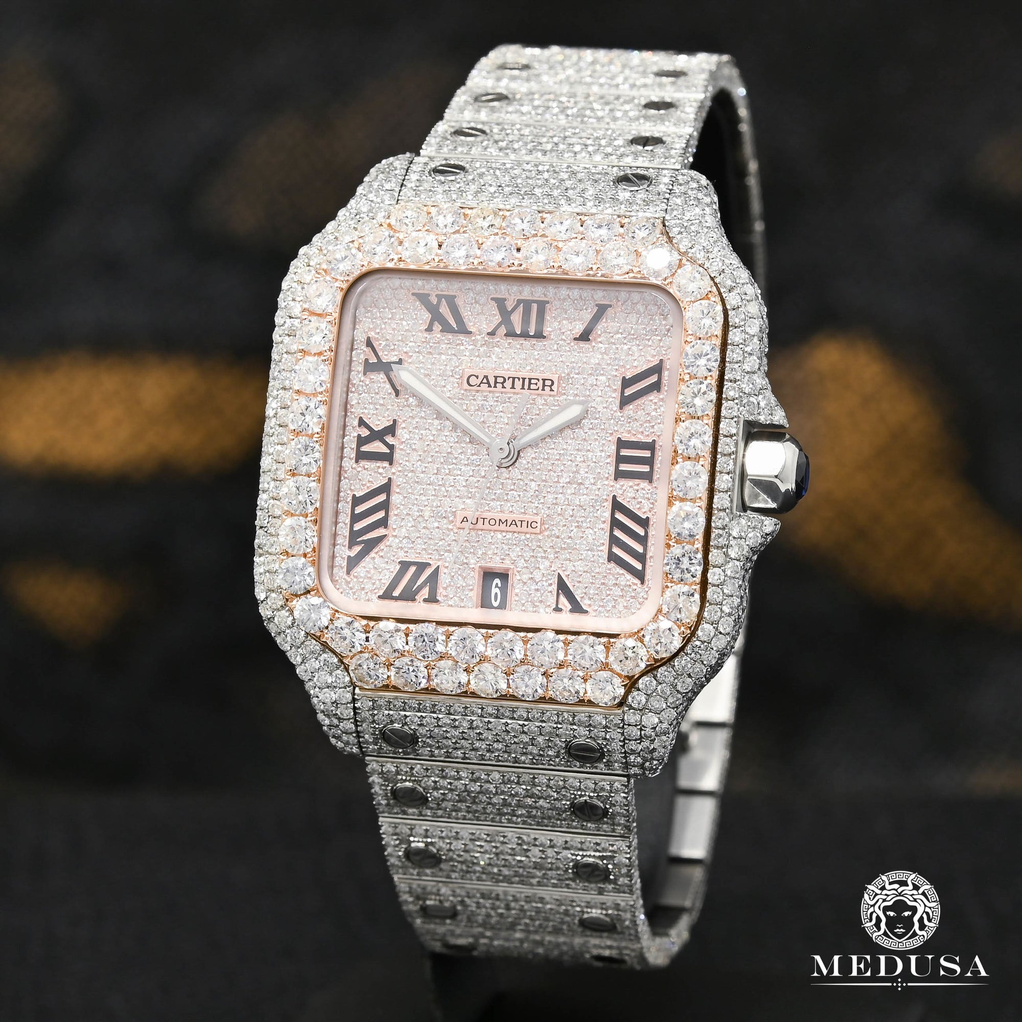 40mm Cartier Santos 100 XL - Full Iced Everose