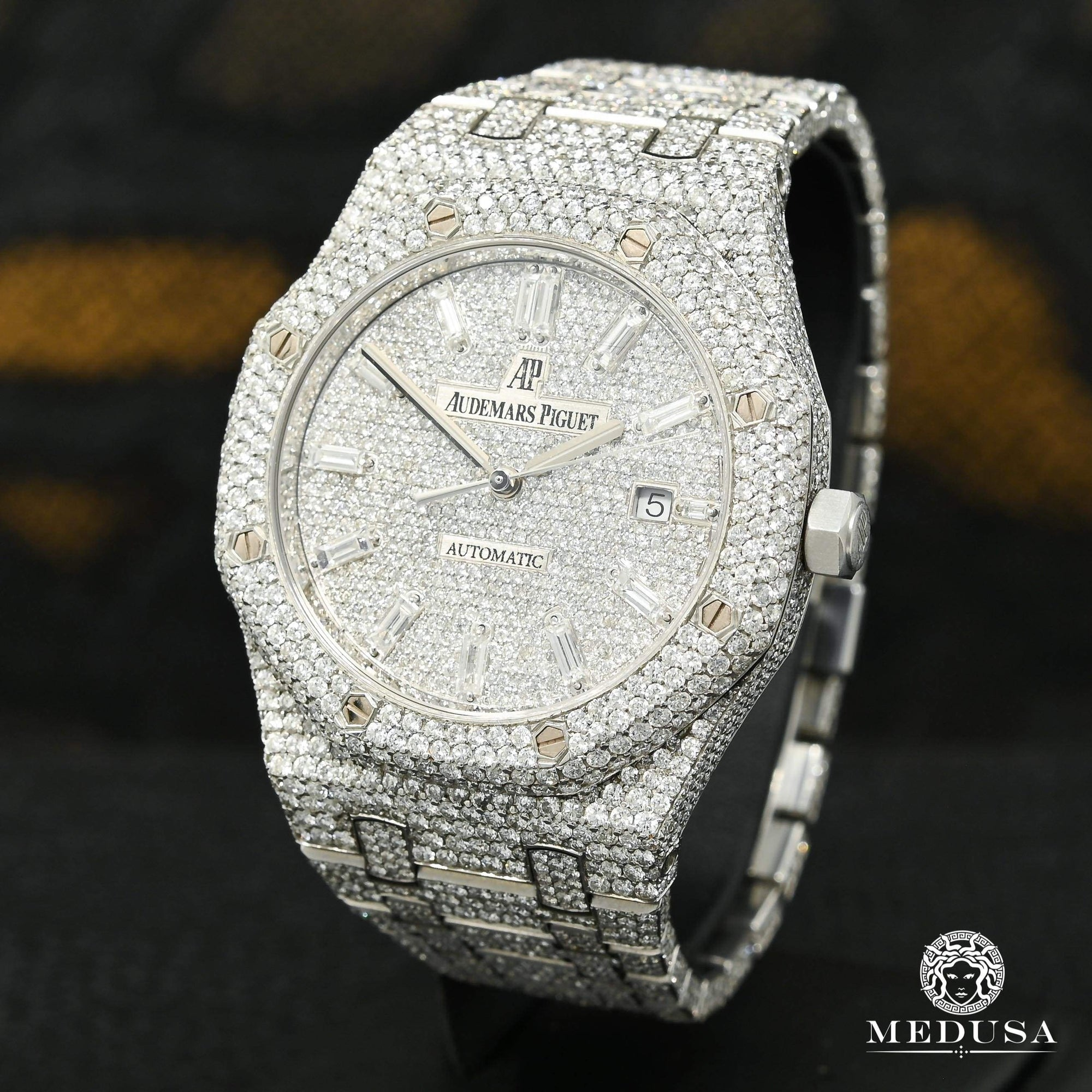 Montre Audemars Piguet | Montre Homme 41mm Audemars Piguet Royal Oak - Baguette Full Iced Stainless