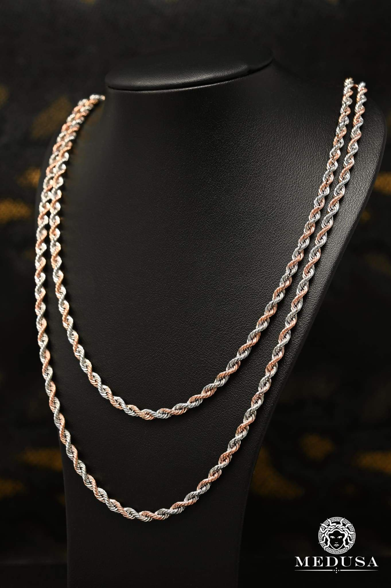 10K Gold Channel Chain 4mm Torsade Gold Rose 2 Tons