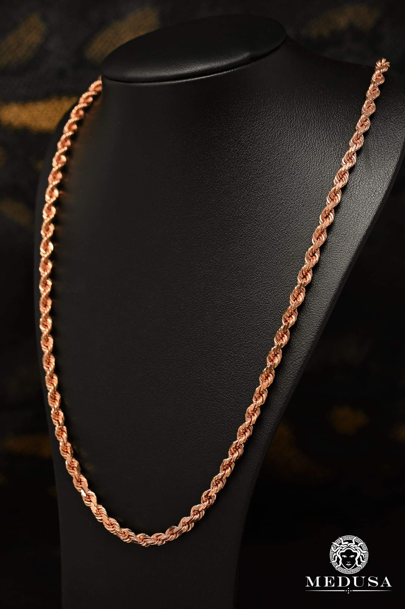 10k Gold Chain 5mm Rope Chain Solid Rose Gold Medusa Jewelry