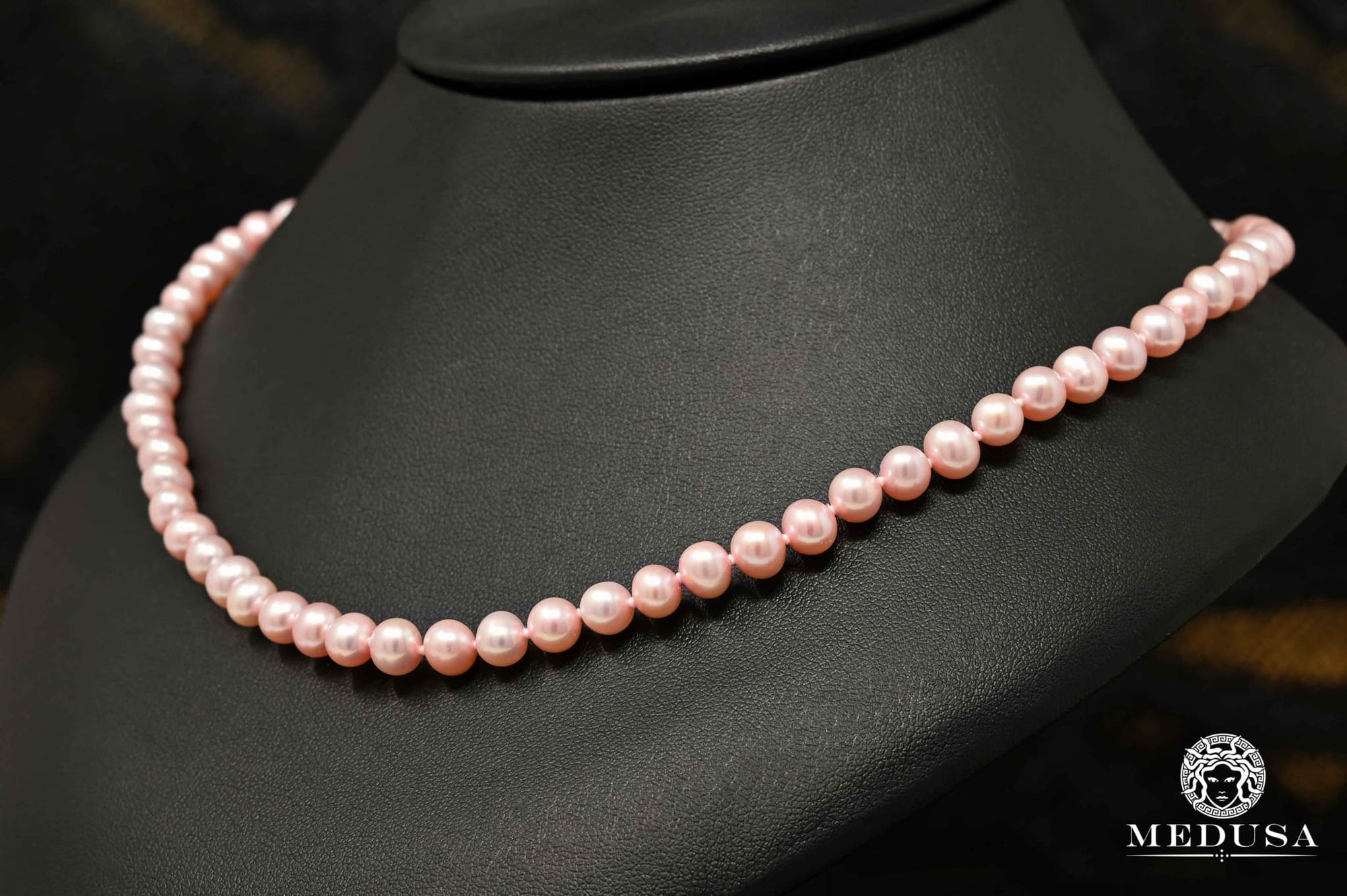 7mm Collier Perle Rose