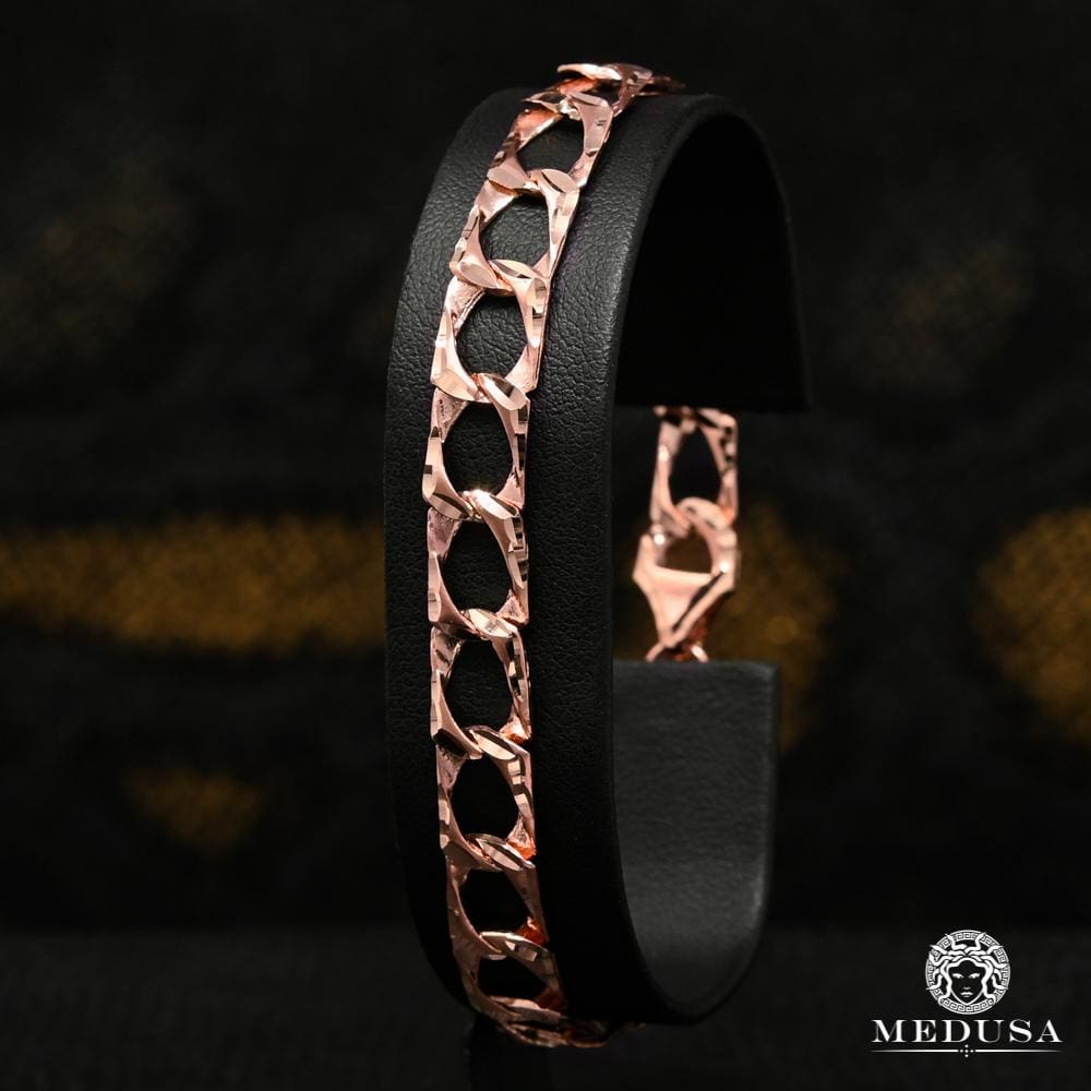 Bracelet en Or 10K | Bracelet Homme 8mm Bracelet Meshy M-ALBERT-ROSE