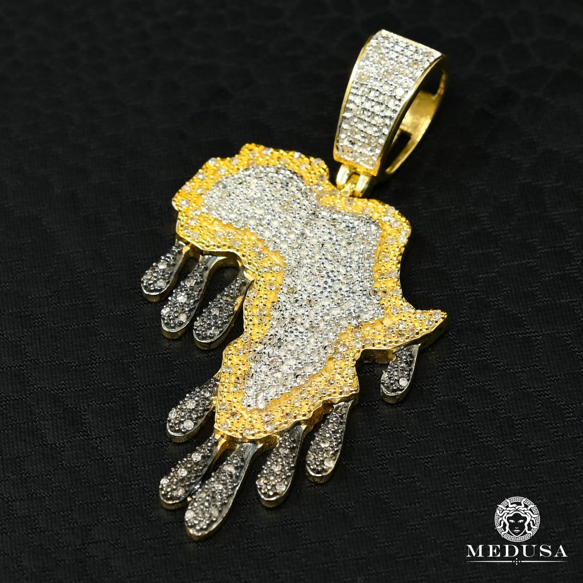 Pendentif à Diamants en Or 10K | Pendentif Divers Africa D2 - Diamant Or 2 Tons