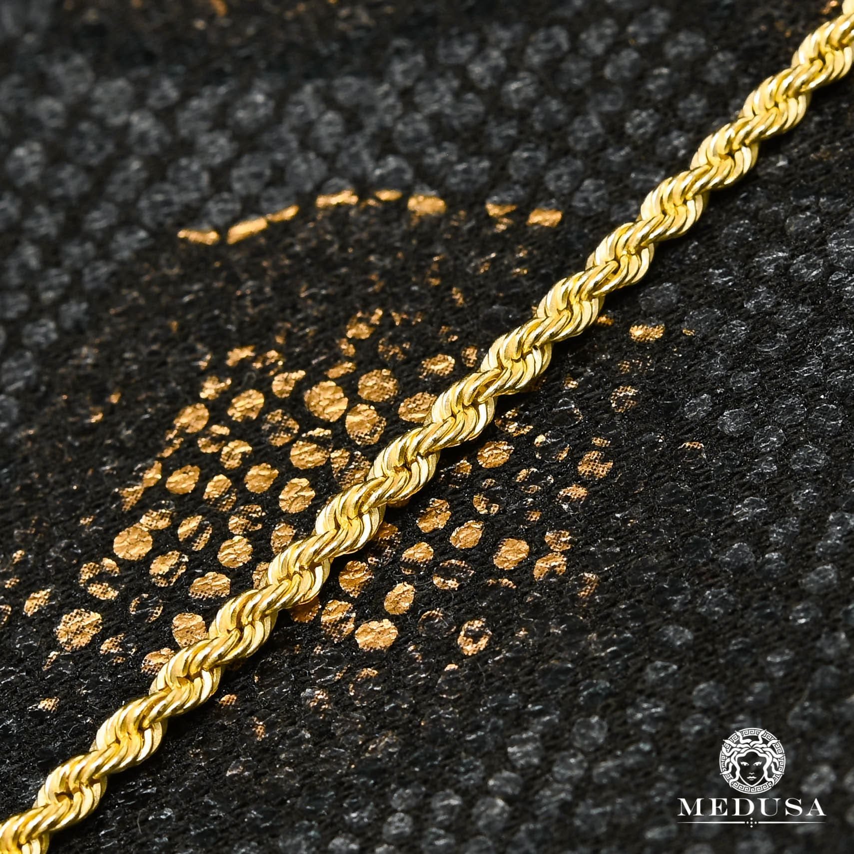 10K Gold Bracelet | Anklet F2 Ankle Bracelet - Yellow Gold Cable