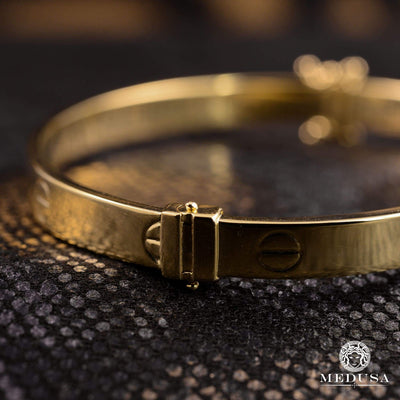 Bracelet Rigide en Or 14K | Bracelet Femme Bangle X1 - Love