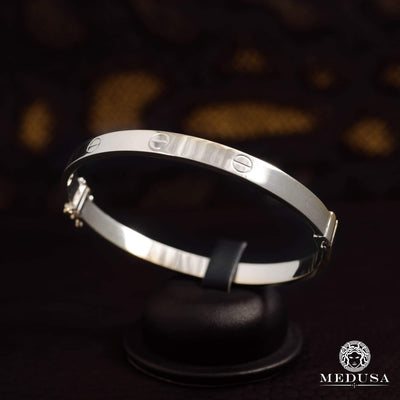 Bracelet Rigide en Or 14K | Bracelet Femme Bangle X1 - Love Or Blanc