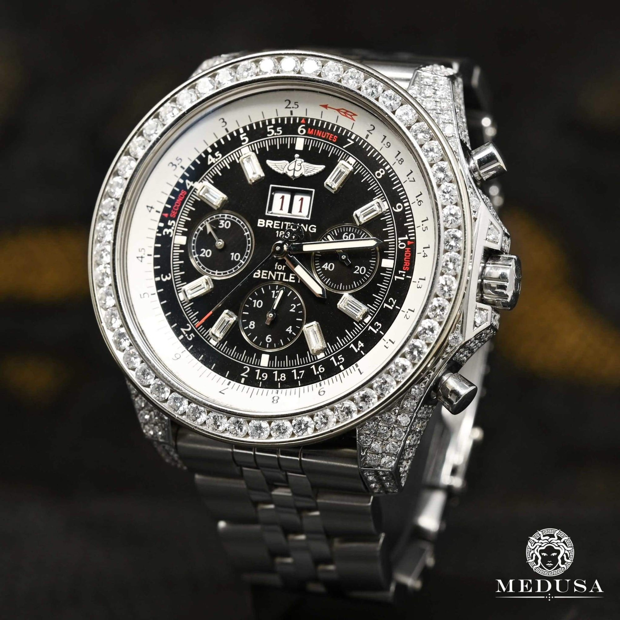 Montre Breitling | Montre Homme Breitling for Bentley - 8.00 Carat Or Blanc