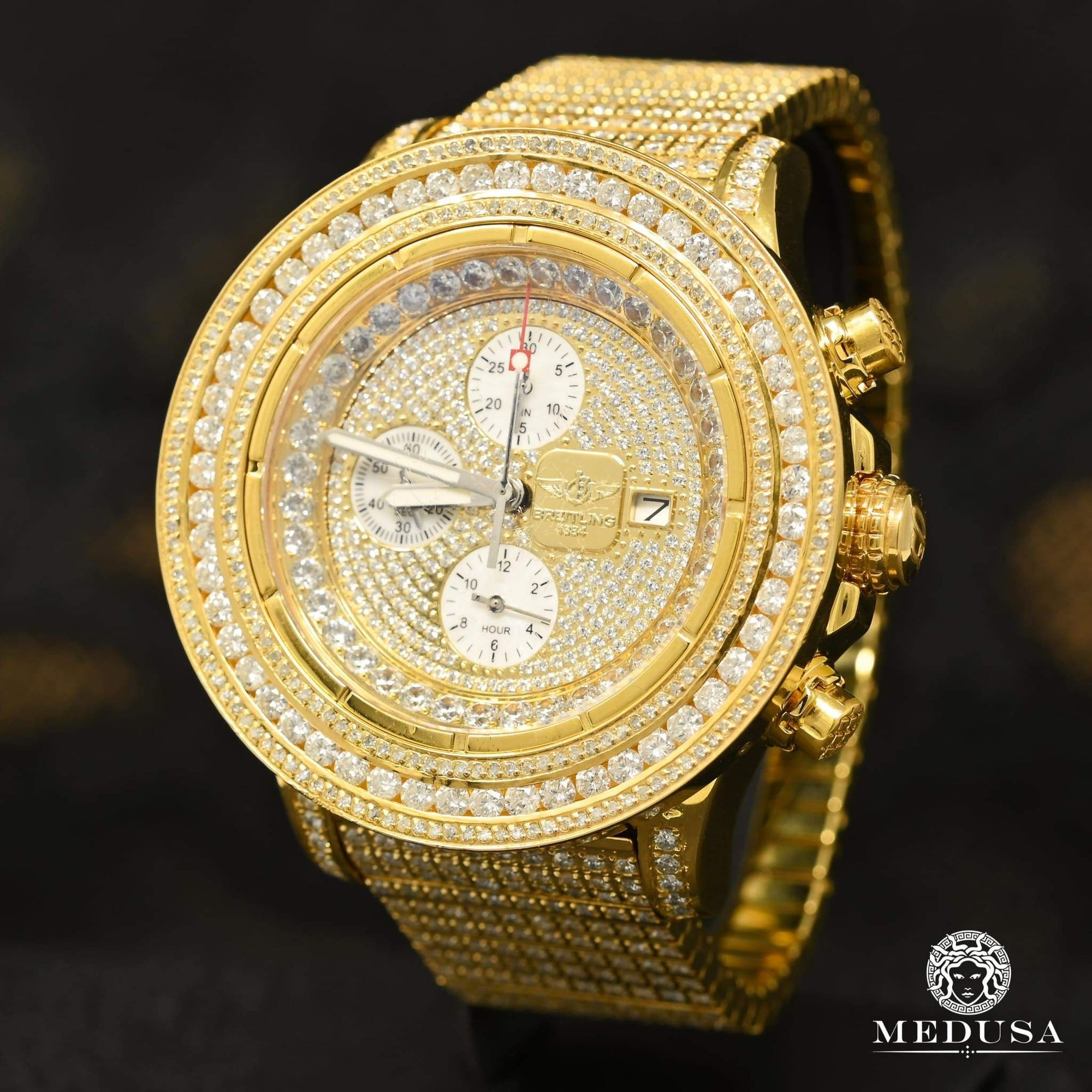 Montre Breitling | Montre Homme Breitling Super Avenger - Gold Iced Out Or