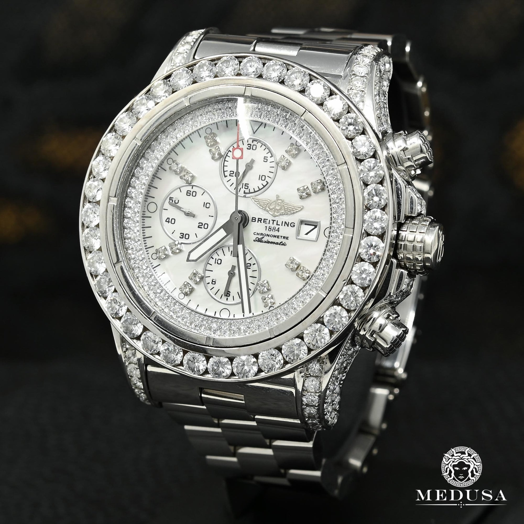 Montre Breitling | Montre Homme Breitling Super Avenger - Iced ''Mother of Pearl'' Stainless