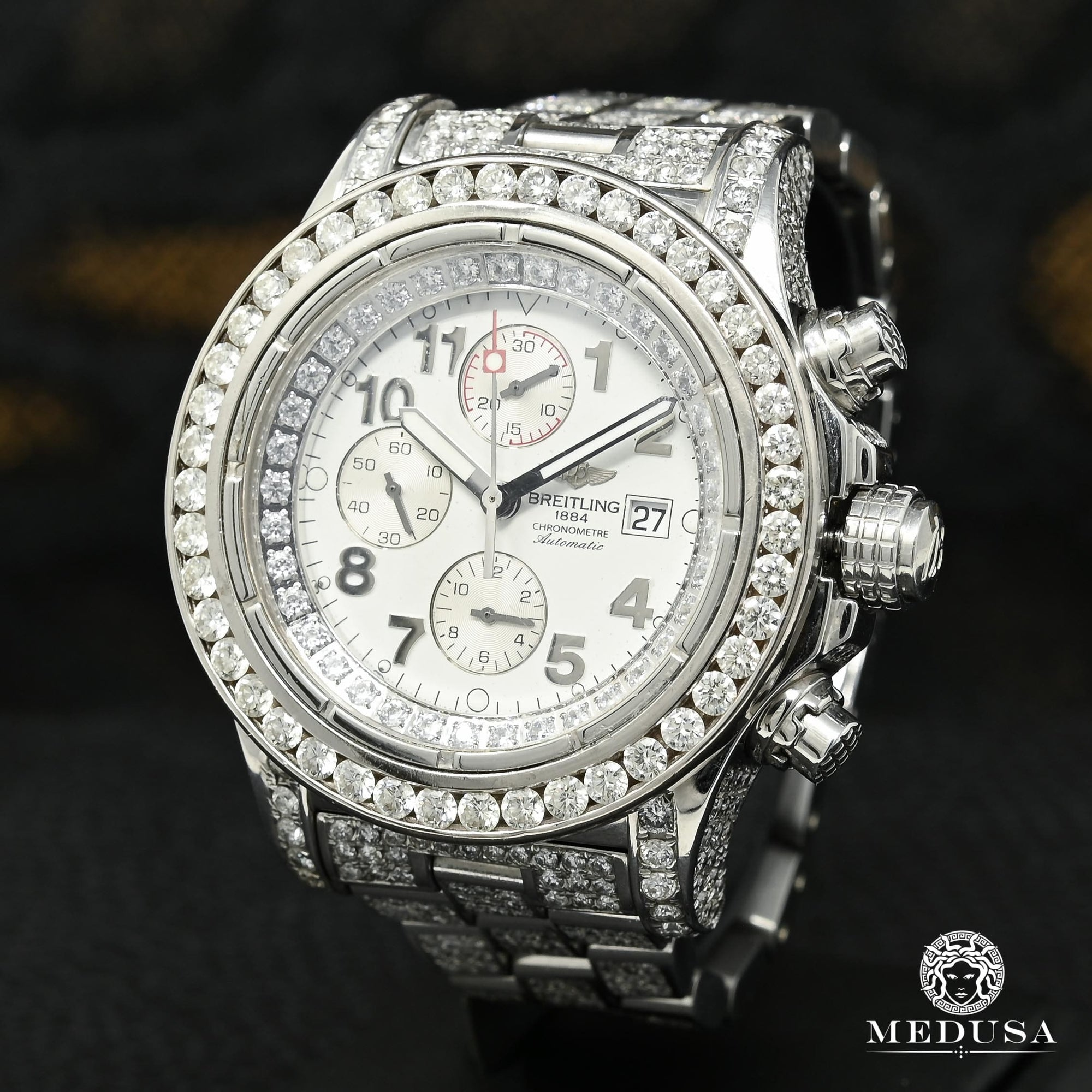 Montre Breitling | Montre Homme Breitling Super Avenger - Iced Out Stainless