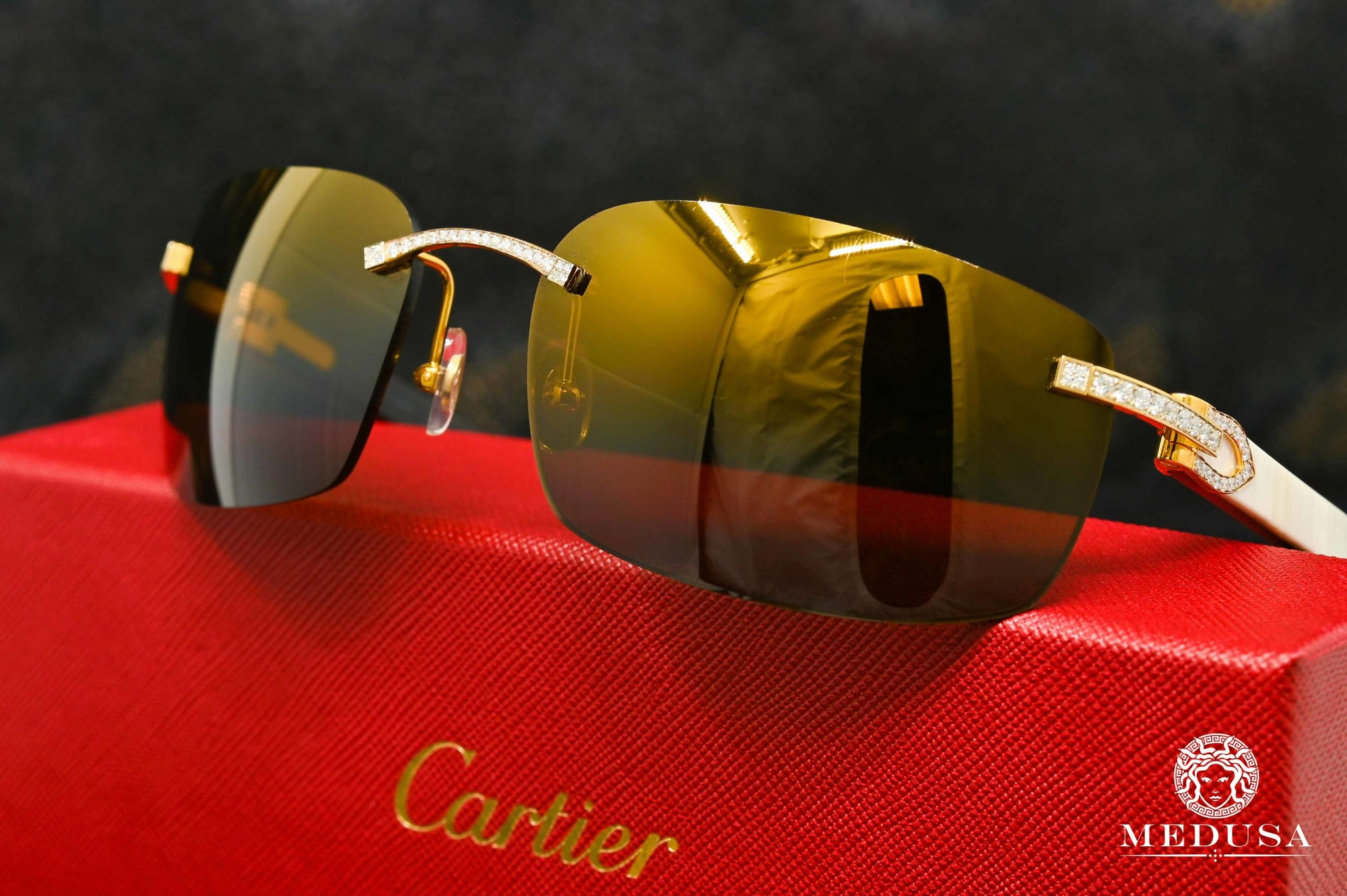 Lunette Cartier | Lunette Homme Cartier C Décor | Gold & Wood Or Jaune