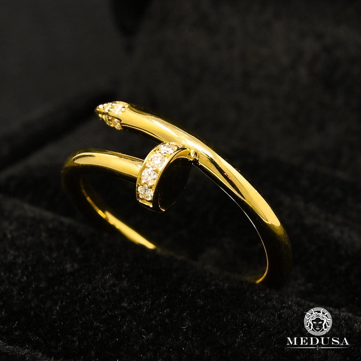 Bague à Diamants en Or 18K | Bague Femme Clou D1 - Diamant Or Jaune