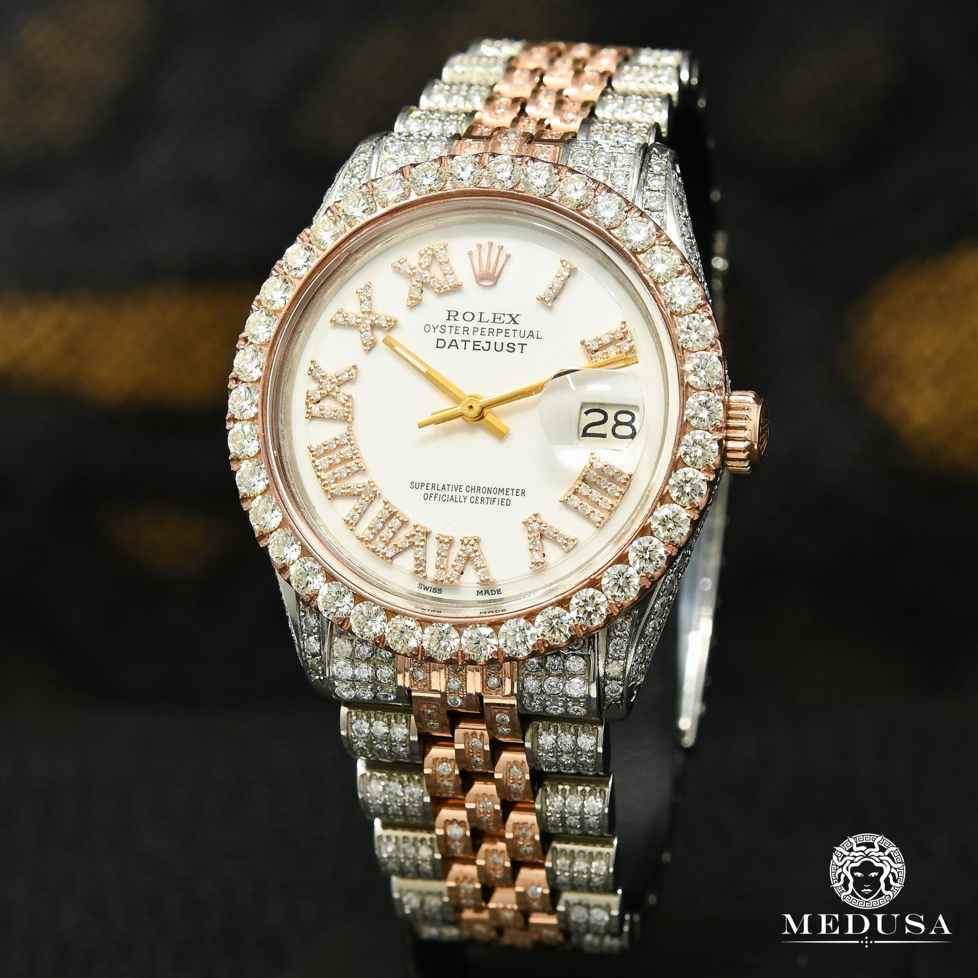 Datejust 36mm - Rose 2 Tons Full Iced